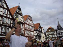 Mathias facilitates the sauerkraut shakers at the Fritzlar Village community drum circle