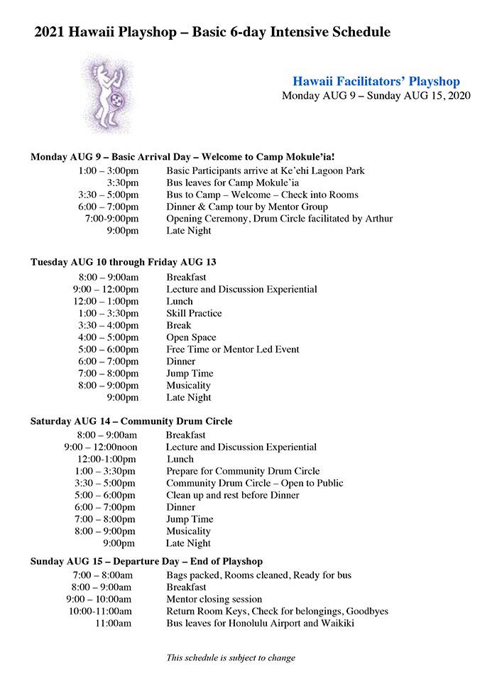 Hawaii Playshop schedule 2021