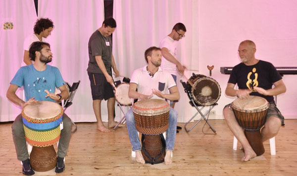 The three Djembe players, Left to right in this picture, Luca Zugna, Alessandro Morbelli and Santo Vitale, have all done extensive study with Mamady Keita - Famoudou Konate